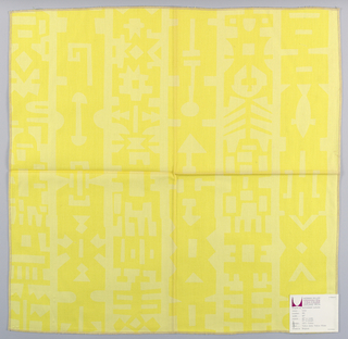 Light yellow plain weave printed with a geometric pattern in bright yellow. Printed pattern forms vertical bands. Number 991.