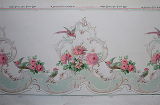 Rococo revival pattern with acanthus scroll medallions containing bouquet of flowers in beiges and pastels with smaller bouquets pink roses and birds. Printed in selvedge: Antiseptic Pat'd 8-9-04 / 5055.