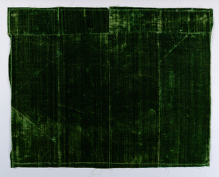 a. eight pieces of unpatterned green velvet sewn together b. four pieces of unpatterned green velvet sewn together c. four pieces of unpatterned green velvet sewn together
