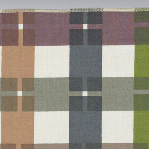 Interrupted stripes in vertical and horizontal directions printed in grey, brown, green, purple and blue/grey on bleached white. Serged on all 4 sides.