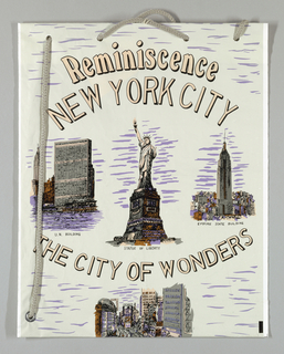 """Reminiscence/ New York City/ The City of Wonder"" imprinted on gray plastic. Four New York City landmarks (Statute of Liberty, Empire State Building, United Nations, Times Square)."