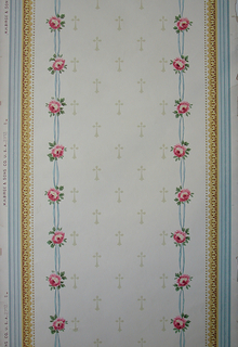 "a) Panel outlined in stripes of two shades of blue and in architectural molding and beading in shades of yellow on white ground. In center: vertical bands of pink roses and blue ribbons with geometric motifs in beige between; b) continuation to top ""a"". Crown frieze with central medallion of flowers and blue ribbon and arabesques from which the bands of ""a"" are pendant."