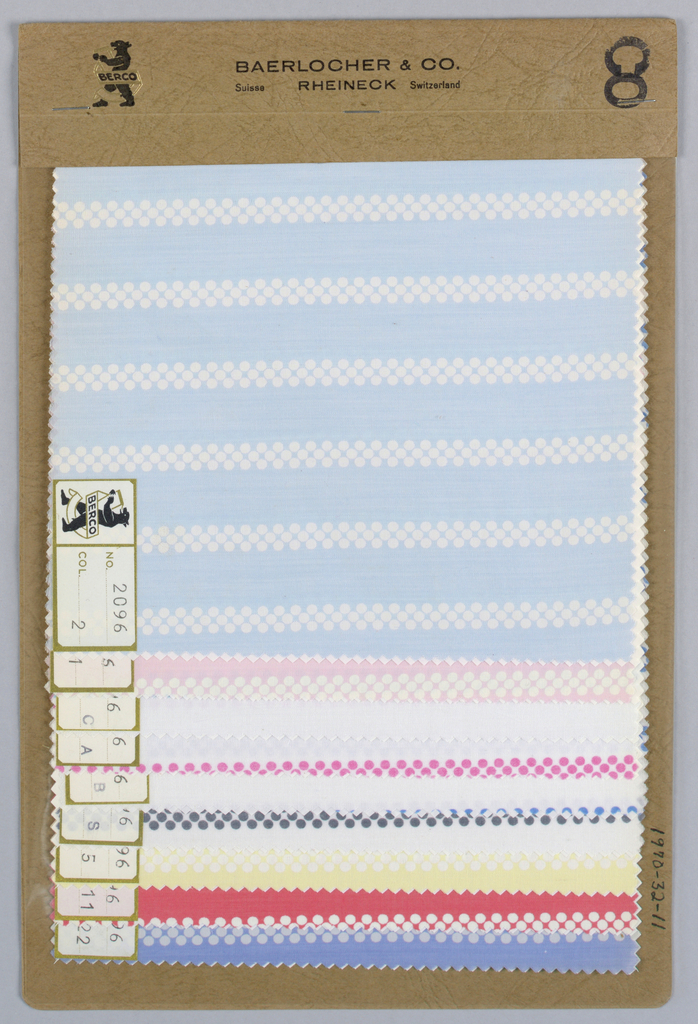 Nine samples with stripes made of small polka dots. Samples have white dotted stripes on a colored ground and colored dots on a white ground. Bound in paper with acetate cover.