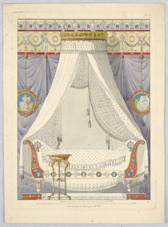Print, Design for a Napoleonic Canopy Bed