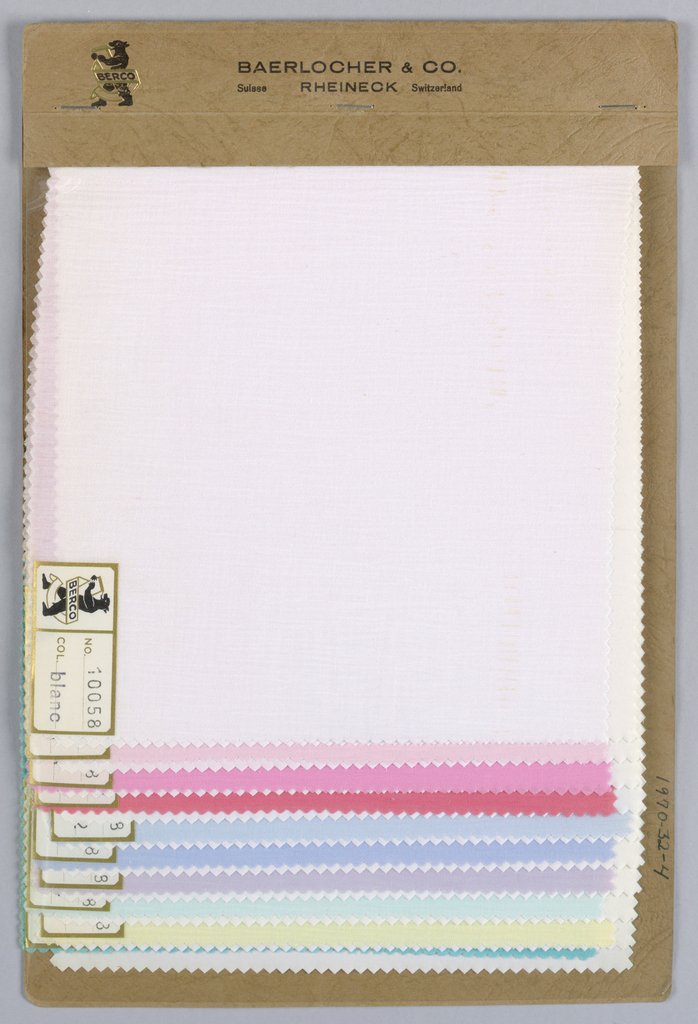 Ten samples of crinkled fabric in solid colors. Bound in paper wtih acetate cover.