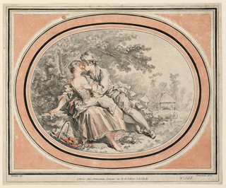 A young couple seated under a tree at left. A shed and sheep in the right distance.