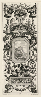 Grotesque panel with octagonal medallions held by four figures as centerpieces surmounted by flower basket flanked by turkeys. Grotesque design composed of wreath and floral scroll motifs.
