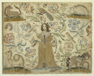 Woman holding a bird in one hand and a snake in the other.  An animal in each corner: horse, camel, unicorn, and warthog.  Flowers, birds, and bugs sitll in the field.