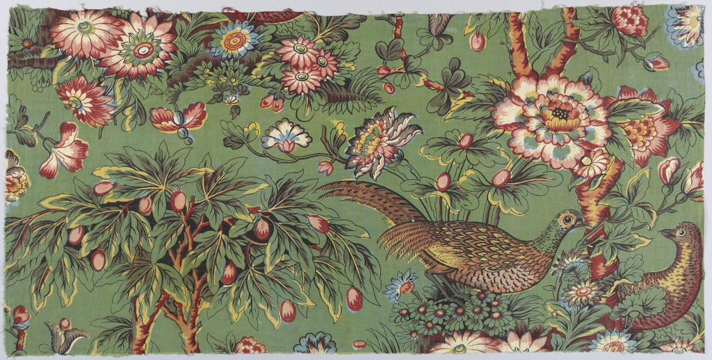 Half-drop repeat of a fruit tree growing in a flowering mound with two pheasants. Multicolored on a green background.