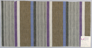 Plain weave with vertical stripes of black, white, tan, blue and violet. Groups of thin stripes in black and tan and black and white alternate with wider stripes of white and violet and blue and black. White weft threads intersect with warp threads of black, violet, tan and blue to give a variegated appearance to the surface.