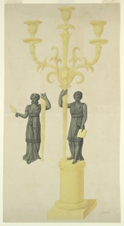 Two designs for candlesticks.  Intended to be executed in green and gilded bronze.   In the main design, a round pedestal with a lozenge decoration of the shaft stands upon a square base.  Upon it stands a young man in classical attire, holding in his lowered left hand an open book and supporting with the right arm a stem.  The stem has a palmette at the top with three sockets.  At left is shown the shaft of the design for the counterpart.  A woman supports the stem with the left arm and carries a mirror in her right hand.  Inscriptions.