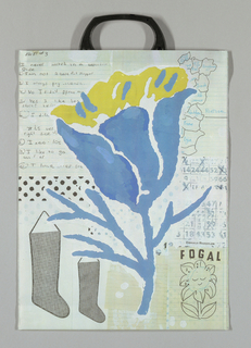 Photographic reproduction of a collage and gouache drawing. Large blue and yellow tulip surrounded by text at upper left; map of Portugal with regions annotated in blue at upper right; calendar with days crossed off at center right; a 'connect-the-dots' drawing of a flower at lower right; two black  Christmas stockings at lower left. Other collage elements include:  beige ruled paper and a strip of enlarged black dots.  Predominant colors are blue, yellow, white, beige and black.