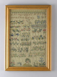 Cross stitch sampler worked in colored silks on bolting cloth ground with alphabet and various borders, an urn and weeping willow.