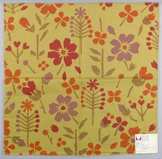 Yellow-brown plain weave printed with an abstract flower pattern in brown, red, orange and dark pink. Number 795.