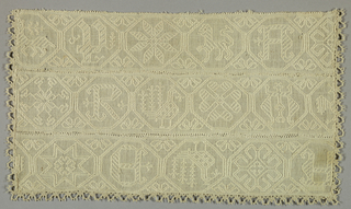Part of a white-on-white embroidered panel. Joining of three pieces needle made edge, the loops of which form two bands placed edge to edge are whipped together.  Linen bobbin lace sewn to three edges.