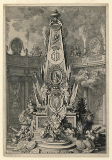 Vertical rectangle. An elaborate monument in the form of an obelisk, bearing the portrait, escutcheon and device of the King, with military trophies and allegorical figures is set before a semi-circular screen, with burning urns at the top.