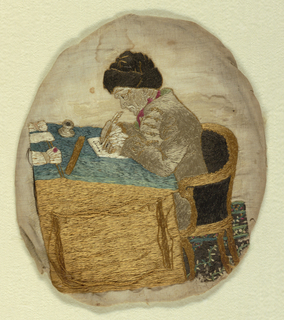 Picture of a man at a desk wearing a coat and fur hat, writing with a quill pen.