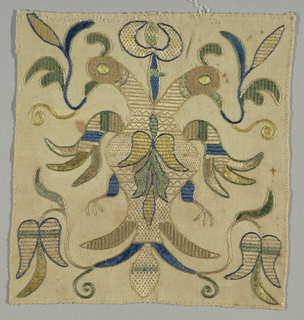 Embroidery fragment with double-headed eagle in green, blue and tan.