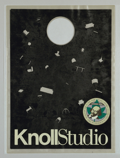 "Recto: ""Knoll Studio/ Celebrate 33 Summers of Free Shakespeare in Park"", summer 1988.  Text in putty on black. Small images of ""floating"" furniture products. Verso: Same design without text."
