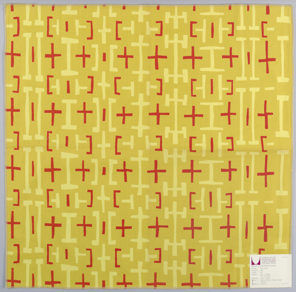 Regular pattern of linear shapes in light yellow and red on an orange-yellow ground.