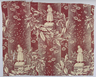 Copper plate print. Design shows statue of Jeanne d' Arc in wreath of asters and bay leaves against background of red stripes with stars. Cotton printed in dark red.