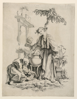 Allegorical scene depicting the sense of smell. An ornately robed woman stands at center, above a pot with steam or smoke billowing out. Two smaller figures surround her. One bends down to present a pot with flowers, and the other holds a parasol of leaves above the central figure's head. Architectural and floral elements surround.