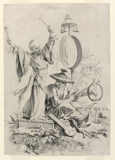 Two allegorical figures, one standing (left), one seated (right), surrounded by instruments demonstrate the sense Hearing. The standing, robed figure is poised to strike a gong with two mallets. The seated figure plucks a stringed instrument, and another stringed, lute-like object rests at their feet.