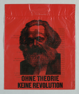 "Recto: ""Ohne Theorie/ Keine Revolution""; photomechanical reproductio of engraved portrait of Karl Marx. Verso: List of 25 bookstores and their locations. Black on red."