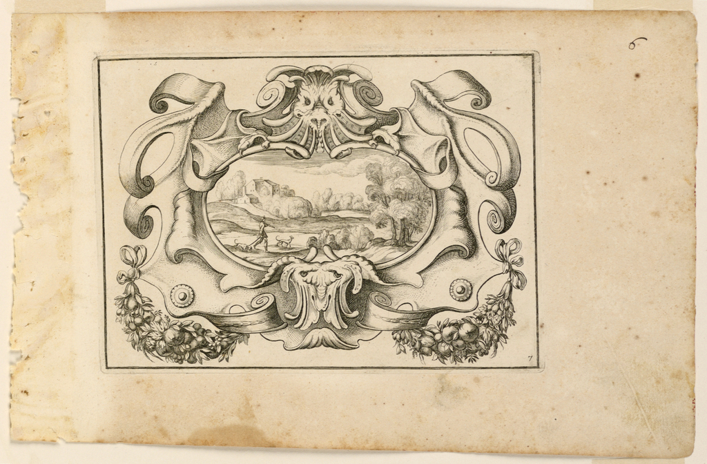 Cartouche with a landscape showing a hunter and two dogs. Framing line.