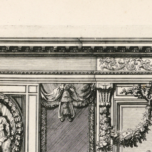 The fireplace is decorated with a curved escutcheon, and its entablature depicts a scene of putti in relief. Two female robed figures flanking an urn, with garlands, sit on a mantelpiece. Above, garlands hang from a mask. Scale below.