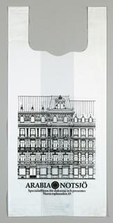 """""""Arabia Nuutajarvi/ Arabia Notsjo"""".  Image of classical architecture in black and white."""