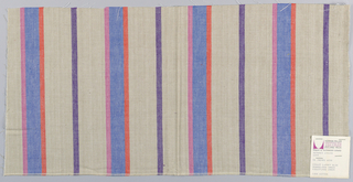 Plain weave with vertical stripes of light brown and bright blue with narrow stripes violet, pink and orange. The weft threads are a deep violet, which gives a variegated appearance to the surface. Only where the violet warp and violet weft intersect do the stripes appear as a solid color.