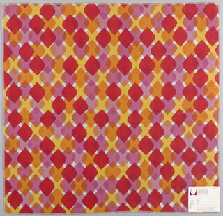 Diamonds with rounded corners overlapping each other in rows. Printed in oranges, red, and pink on white. Serged on all sides.