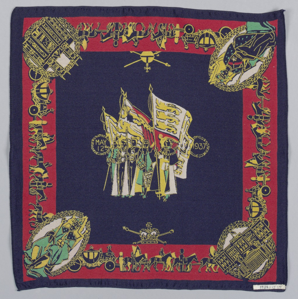 Square handkerchief has a central group of figures in robes and flags flanked by the date: May 12, 1937. In the border, the coronation procession with medallions at the corners showing: The King, The Queen, Buckingham Palace, and Westminster Abbey. Printed in green, gray, red, and gold on a blue ground.
