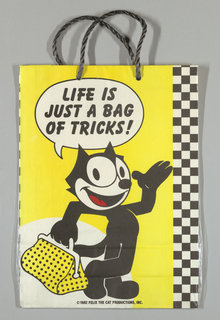 "Cartoon character Felix the Cat holding a black and yellow polka dot handbag  against yellow background.  Black and white checkerboard pattern along right edge. Text at top: ""Life is Just a Bag of Tricks."" Side panels: ""Felix"" in red."