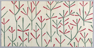 White plain weave printed in a green and red stylized twig pattern.