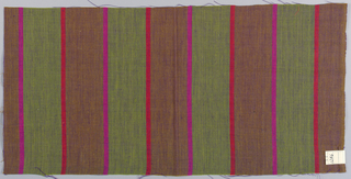 Plain weave in wide vertical stripes of olive green and brown with narrow stripes in magenta and red. The violet threads of the weft give a variegated look to the surface of the textile.
