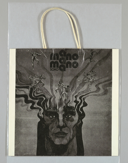 """Black drawing of face with battling male nudes on white background.  Side panels: """"Mano a Mano Soho"""" (store name), twice each side."""