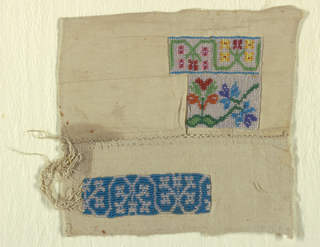 Two small, incomplete beadwork samplers joined with needlework. Each has rectangles with floral borders executed in colored beadwork.