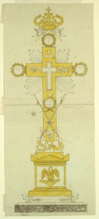 "Vertical rectangle. Design for a reliquary, the pedestal in the shape of an antae sarcophagus, featuring a pelican on clouds and cherubim supports. Above, a serpent coils around the base of the cross with an apple in its mouth. Above, the Veil of Veronica hangs with the image of the face of Jesus Christ. Spear and sponge staff are carried in front of the bottom part of the cross above the cloth, the sudarium suspended from them. Four circular receptacles, inscribed ""Relliquia"" are proposed, three of them at the ends of the cross arms, the fourth between the tops of the spear and the staff. A small cross-shaped receptacle is in the center. The nails, dice, hammer, and tongs surround its top. A crown supported by two flying putti at the top of the reliquary."