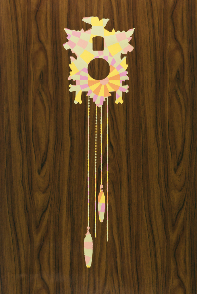 Die-cut shapes on a walnut grain adhesive vinyl.  The cutouts include a cuckoo clock, souvenir spoons in a rack, lantern and oars for canoe.  The paper is meant to evoke a cabin-like feeling where ever it is installed.  The paper can be installed over an existing wallpaper, allowing the old paper to show through the cutout designs. This allows the past to continue in the present.