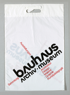 """bauhaus/archive museum"" in red and black on white."
