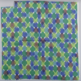 Diamonds with rounded side corners overlapping each other in rows. Printed in greens, blue, purple, brown on white. Cut on all sides.