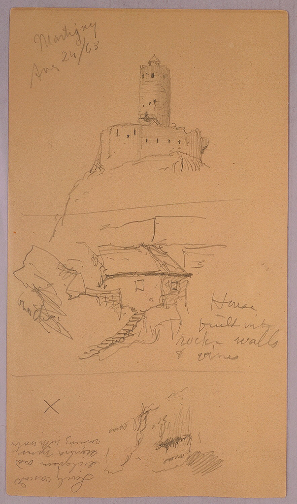 Verso: Mountain Peak from the Valais, Apennine Alps with various notes inscribed.