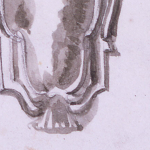 Console with a panel and bust; center: empty escutcheon with a crown on top; at right: curved gaine with a winged bust and woman's breast and bearded head, continued by scrolls.