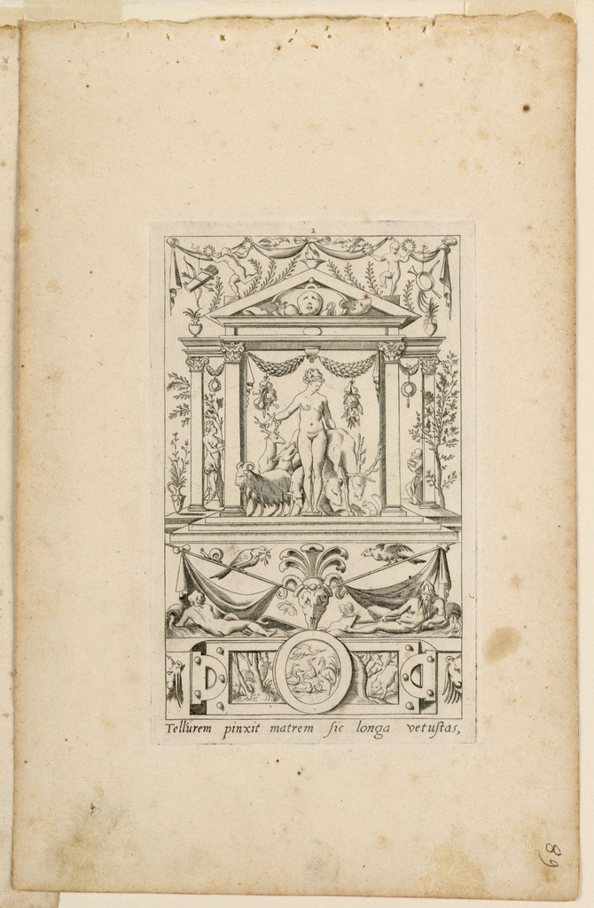"Print, Grotesque with Deities. Plate 02 ""Cybele,"" 2nd state"