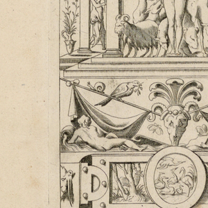 """Print, Grotesque with Deities. Plate 02 """"Cybele,"""" 2nd state"""