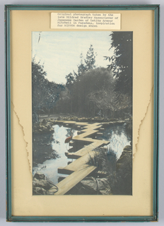 Crane standing beside a zig-zag bridge in a Japanese garden. Monochrome. B is in red, C is in blue. Design source was a photograph taken by Mildred Bradley Hasenclever (the first Mrs. Hasenclever; the donor, a widow, was the second wife), of the Lelita Armour Mitchell Japanese Garden in Pasadena.