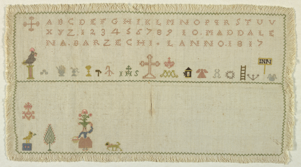 Horizontal rectangle with narrow zigzag outer border; band of alphabet, number, name and date. Band of religious motifs. Lower field contains domestic scenes and is unfinished. Alphabet starts with Maltese cross. Polychrome on natural.