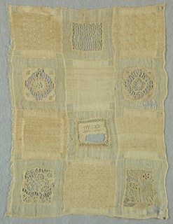 White sampler.  Twelve squares containing pattern darning alternate with squares of cutwork with needle made fillings.